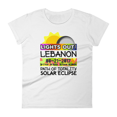"Women's - Lebanon OR - Solar Eclipse Short Sleeve T-Shirt: ""Lights Out!"" PATH of TOTALITY 08-21-2017 w Actual Times"