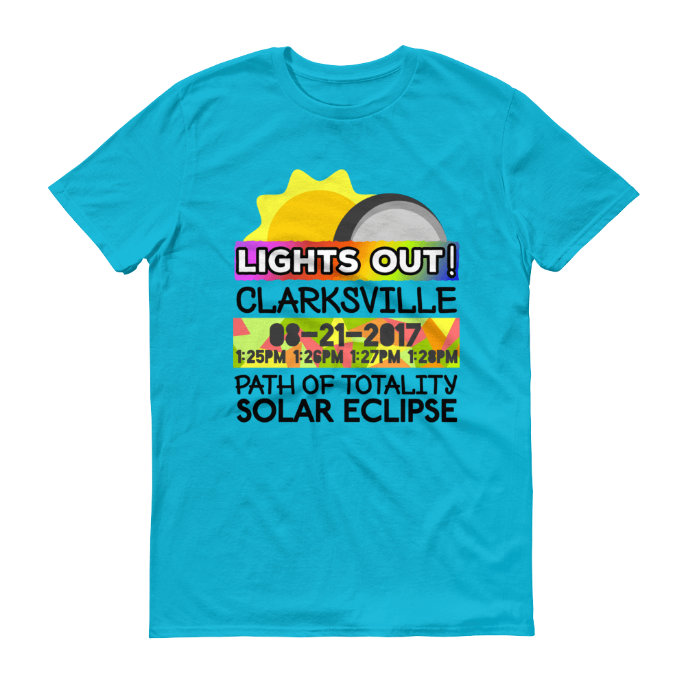 "Men's - Clarksville TN - Solar Eclipse Short Sleeve T-Shirt: ""Lights Out!"" PATH of TOTALITY 08-21-2017 w Actual Times"