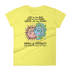 Women's Solar Eclipse Short Sleeve T-Shirt - Phillip & Aurora - Live Love Dance Path of Totality August 21, 2017