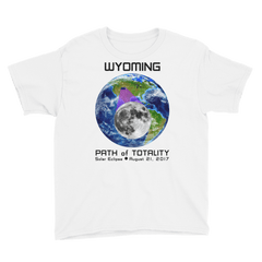 Boys' Solar Eclipse Short Sleeve T-Shirt - Wyoming - Earth/Moon - Path of Totality August 21, 2017