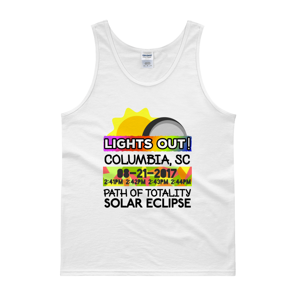 "Men's - Columbia SC - Solar Eclipse Tank Top: ""Lights Out!"" PATH of TOTALITY 08-21-2017 w Actual Times"
