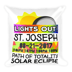 Solar Eclipse Throw Pillow: ST. JOSEPH MO PATH of TOTALITY August 21, 2017