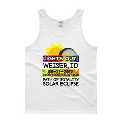 "Men's - Weiser ID - Solar Eclipse Tank Top: ""Lights Out!"" PATH of TOTALITY 08-21-2017 w Actual Times"