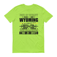"Men's Short Sleeve T-Shirt: ""Wyoming"" PATH of TOTALITY Total Solar Eclipse 08-21-2017"