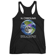 Women's Solar Eclipse Tank Top - N. Carolina - Earth/Moon - Path of Totality August 21, 2017