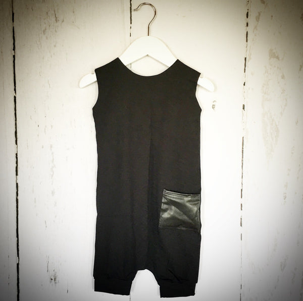 Bamboo Crop Romper - Black