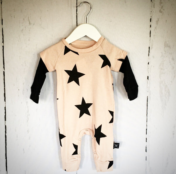 Longsleeve Star Playsuit - Powder Pink