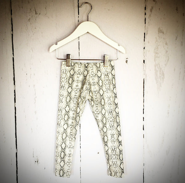 Faux White Leather Snakeskin Leggings