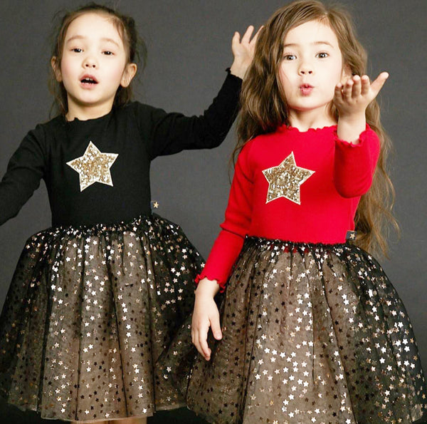 Red and Gold Star Onesie Sparkle TuTu  Dress
