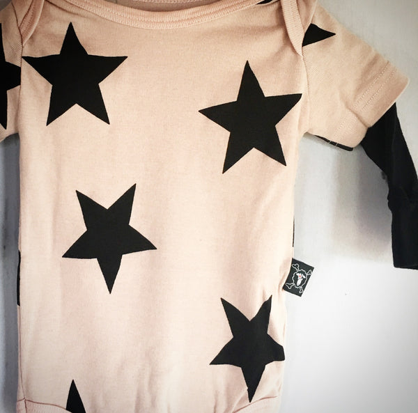 Pink Star Onesie - Double Sleeve