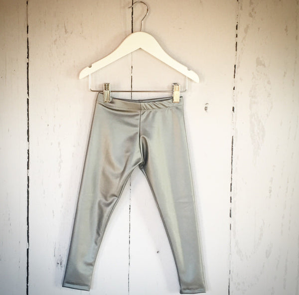 Faux Leather Silver Matte Leggings