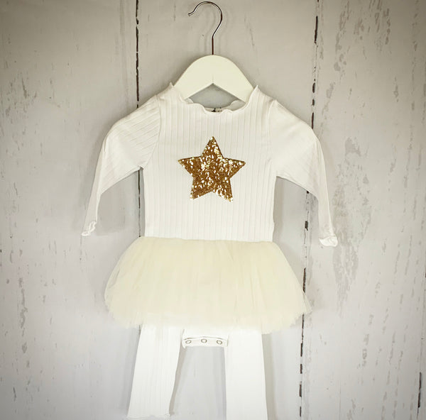 White Baby TuTu Onesie & Pant Set - (ONE SIZE LEFT 6M)