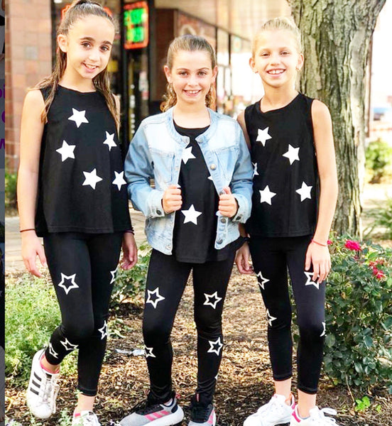 Black and White Star Leggings