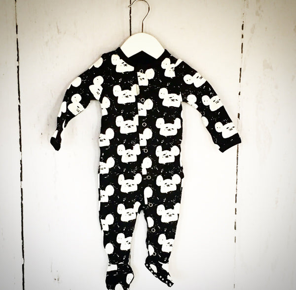 Mickey Mouse inspired PJ's - White on Black