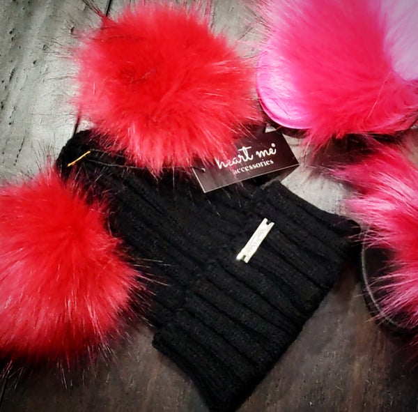 Double Pom Black Angora Wool Hat - HOT PINK