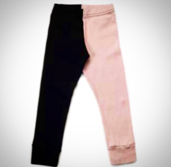 1/2 1/2 Leggings - Pink and Black