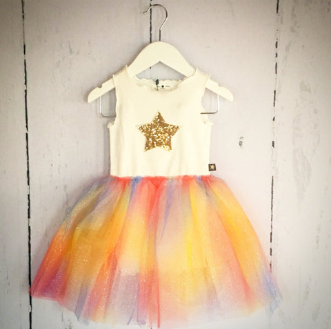 Sparkle Star Rainbow Tutu Dress - (One Size Left, 2y)
