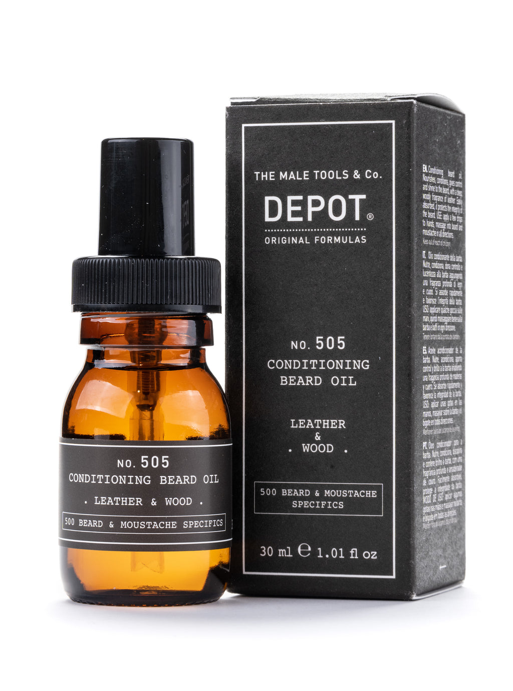 Depot - Beard Oil - Leather & Wood - Skeggolía