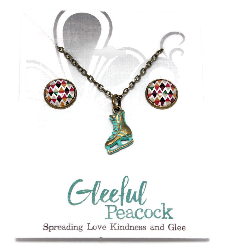 Harlequin Dome Earrings/ICE SKATE Necklace Gift Sets