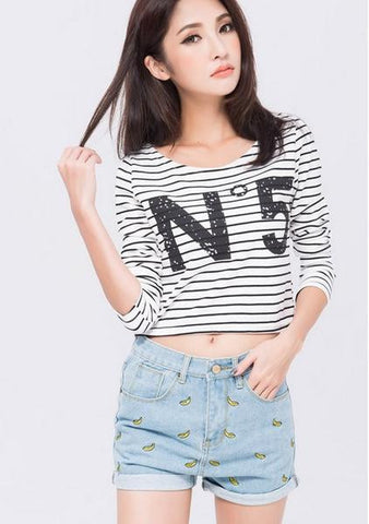 Fashion Banana Embroidery Denim Shorts