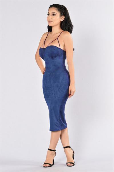 Sexy Bustier Suede Dress Blue