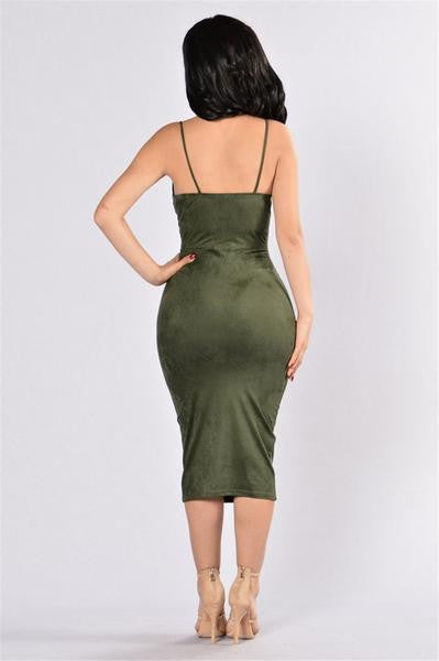 Sexy Bustier Suede Dress Green Back