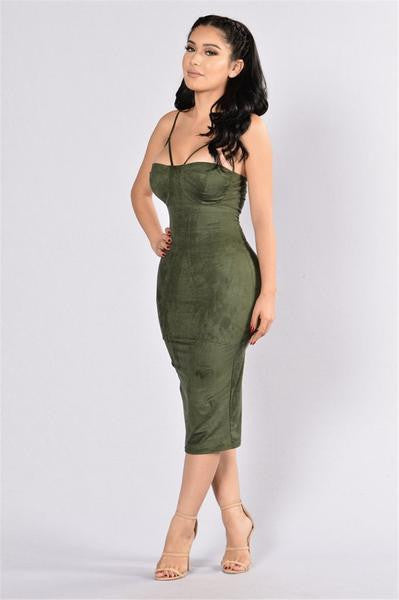 Sexy Bustier Suede Dress Green
