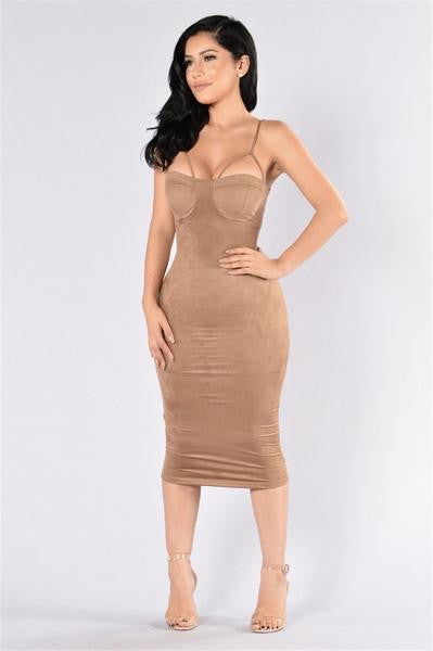 Sexy Bustier Suede Dress Khaki