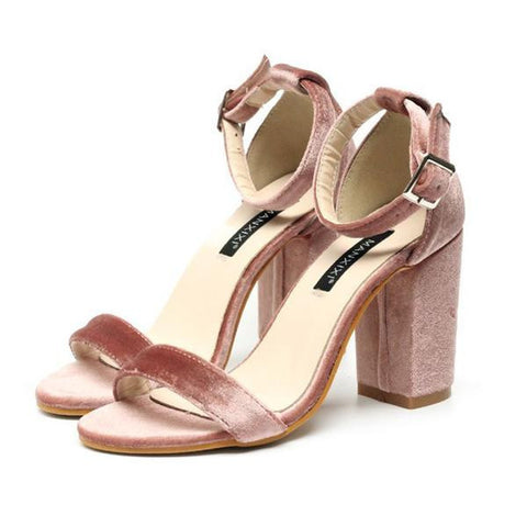 Chunky High Heels Velvet Pumps Pink
