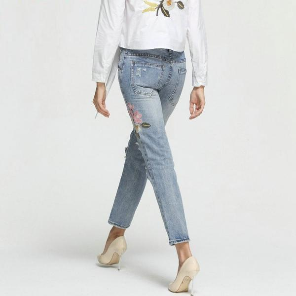 Casual Denim Ripped Floral Embroidery Jeans Back