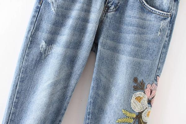 Casual Denim Ripped Floral Embroidery Jeans