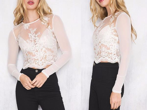 Elegant Transparent White Embroidery Long Sleeve Mesh Top