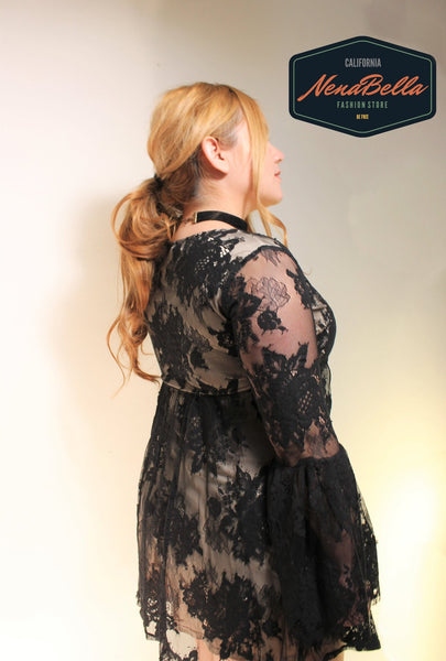 Long Sleeves Loose Lace Dress