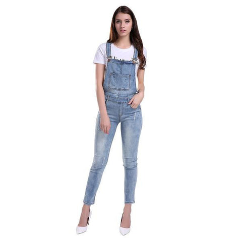 Casual Overall Denim Jumpsuit