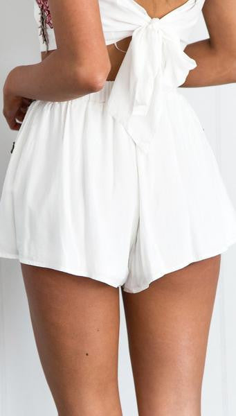 White Crop Top 2 Pieces Romper Back Skirt
