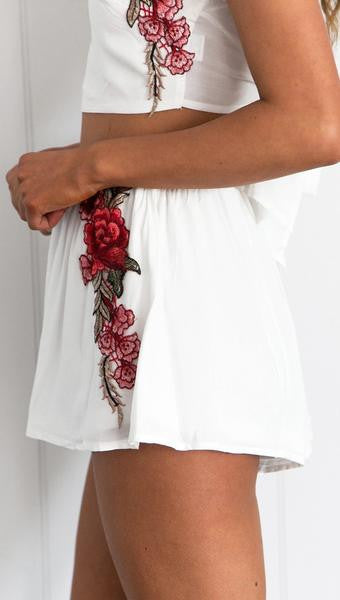 White Crop Top 2 Pieces Romper Skirt