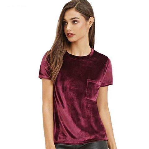 Velvet Solid Claret Short Sleeve T-Shirt