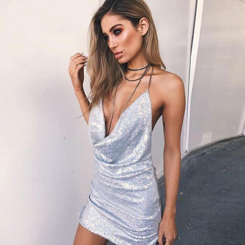 Sexy V-Neck Sequin Backless Dress