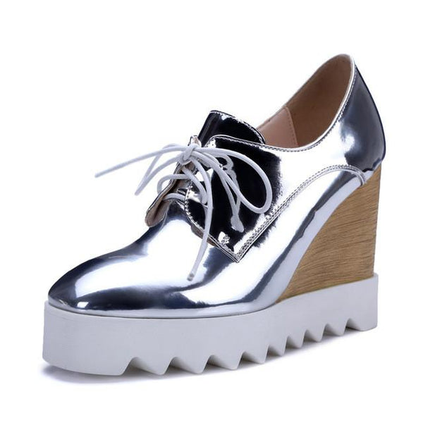 Shinny Oxford Wedges