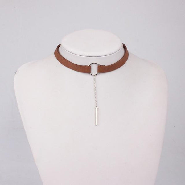 Leather Round Choker Necklace