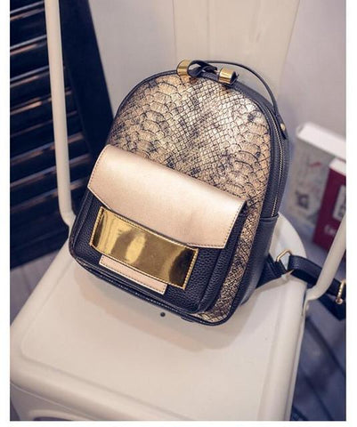 Snake PU Leather Backpack