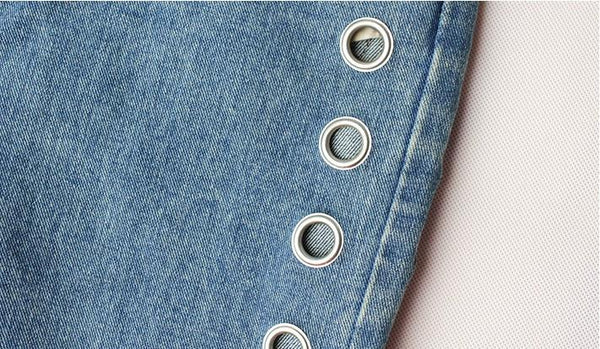 Rivet Eyelet Detail Boyfriend Fashion Jeans