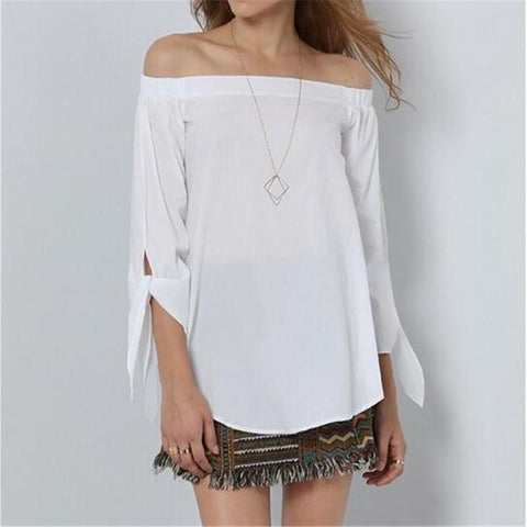 Off Shoulder Long Sleeve Casual Top