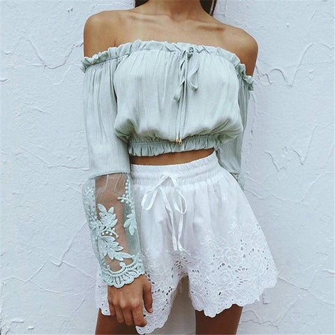Long Sleeves Off Shoulder Chiffon Summer Top