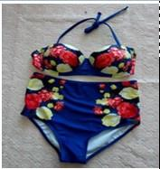 Retro Floral Printing High Waist Swimsuit