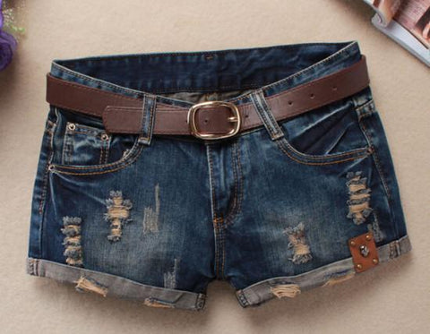 Ripped Vintage Skull Patch Denim Shorts