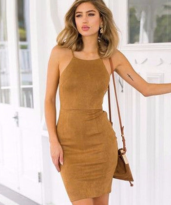 Sexy Lace up Suede Bodycon Mini Dress