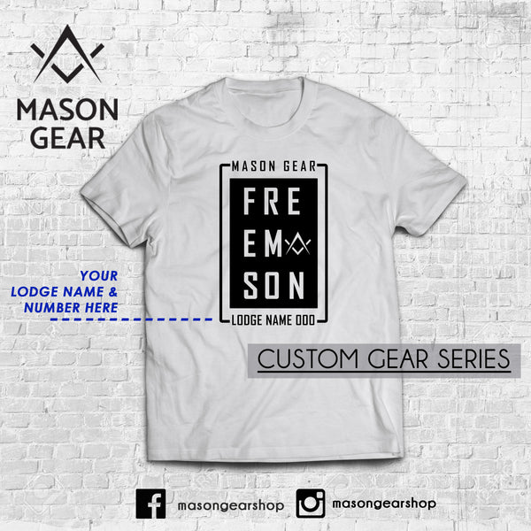 Custom Lodge & number- tshirt Boxed design - Mason Gear Shop