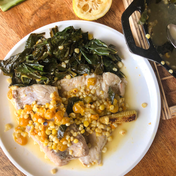 Blue Fish with Ground Cherries, Corn and Collard Greens