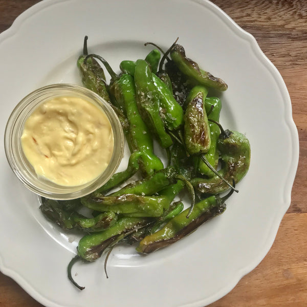 Blistered Shishito Peppers with Cheat's Aioli